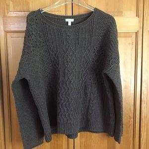GARNET HILL Women's Taupe 100% Merino Wool Sweater